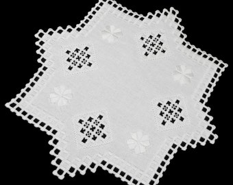 Hardanger Embroidery Embroidered Eight-sided Table Center Doily White Cotton