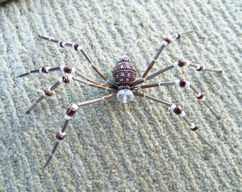 Bronze and Crystal Beaded Spider #15