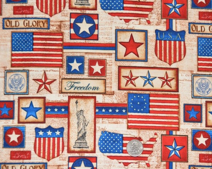 "Robert Kaufman ""America The Beautiful"" - 100% Kona Cotton  - ADO-8708-202 Americana"