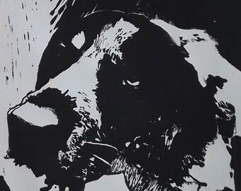 Bluetick Coonhound Linoleum Cut Block Print