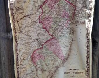 NEW JERSEY map blanket - NJ map baby minky security blankie - small travel blanky, lovey, woobie - 16 by 20 inch