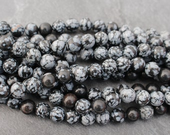 8mm Snowflake Obsidian Beads, Round, Half Strand or Full Strand