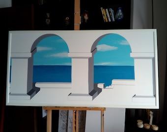 "Painting ""terrazza a mare"" trompe l'oeil"