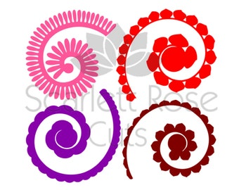 Quilled flowers etsy for Rolled paper roses template