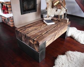Handmade Reclaimed Wood & Steel Coffee Table Vintage Rustic Industrial  loft end table unique brown old wood old beams