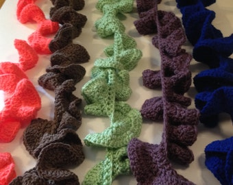 crochetted frilly scarves