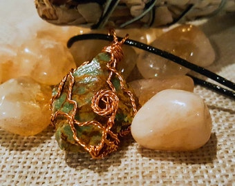 Copper Wire Wrapped Chrysoprase Necklace