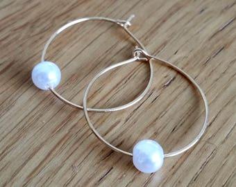 White Pearl Hoop Earrings, Delicate Gold Plate Hoops, Elegant Everyday Jewelry, Minimalist hoop, Bridesmaid Earrings, Gift For Her