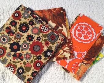 29 retro 70's or 80's print fabric squares plus scraps