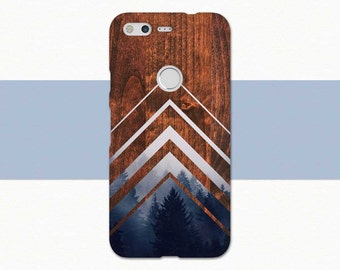 Wood Google Pixel Case, Geometric Pixel Case, Wood Pixel XL Case, Chevron Pixel XL Case, Google Pixel Cover, Geometric Phone Case, Blue