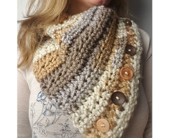 Cowl-Striped, Women's cowl, colorful cowl, cowl with buttons, scarf, crochet cowl, neck warmer, neck wrap