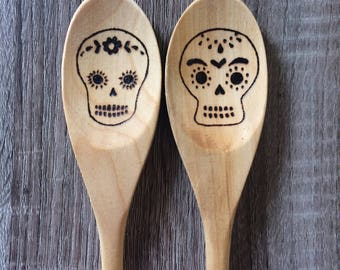 Wooden Spoons, Sugar Skulls, Utensils, Hand Burned, Kitchen Accessories, Day of the Dead, Baking Utensils
