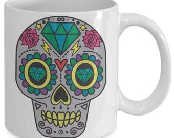 Sugar Skull Mug, Dia De Los Muertos, Flower Skull Mug, Haloween,Day of the Dead, Sugar Skull Tatoo, Sugar Skull Girl, Haloween Mugs,Birthday