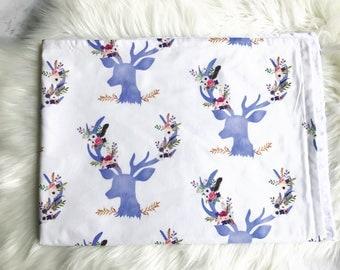 purple deer baby blanket, minky blanket, purple blanket, baby blanket, stag, deer