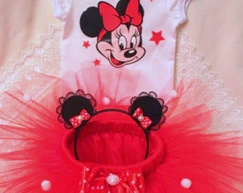 Red Minnie Mouse Birthday Outfit , Minnie Mouse Birthday Tutu Set , Minnie Mouse Tutu Outfit, minnie mouse ears, second Birthday Outfit