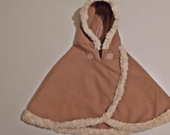 Girls Brown Poncho with Fur Trim
