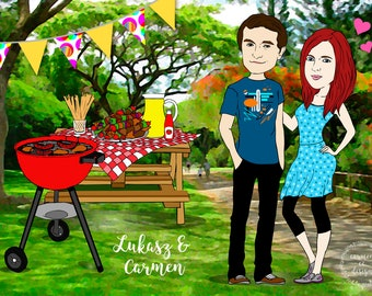 Personalised Family Portrait, Custom Portrait Illustration with BBQ Background, Wedding Gift, Anniversary Gift, Unique Gift, Digital File