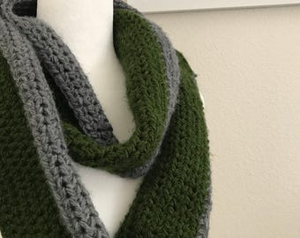 Forest Green/Gray Handmade Crochet Infinity Scarf
