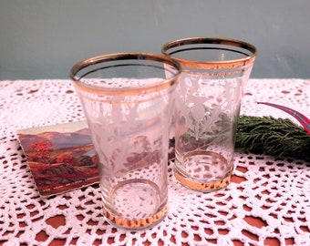 Vintage Whisky Glasses - Vintage Whiskey Glasses - Scotch - Vintage Shot Glasses - Scottish Thistle Glasses - Pair of Thistle Glasses - Two