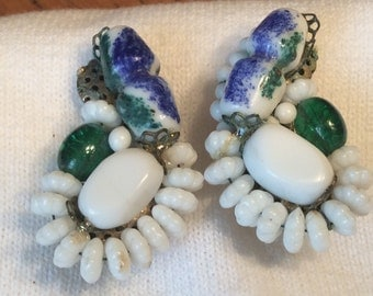 Vintage Womens Designer Signed Hobe' Clip on Earrings. Milk Glass Green Glass Wire Set Bead Work Mid century