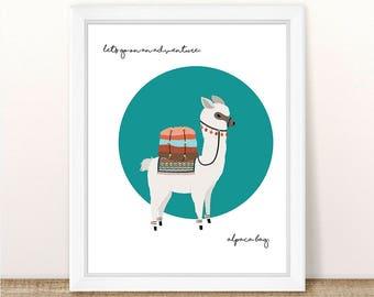 PRINTABLE Let's Go On An Adventure Alpaca Bag, Instant Download, Alpaca Printable, Travel Printable, Llama Printable, Llama Wall Art Print