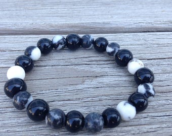 Zebra stone stretchy beaded bracelet
