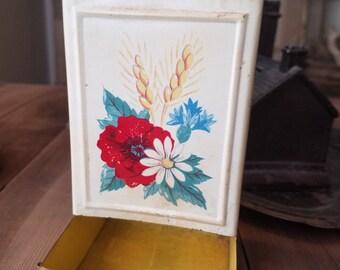 Vintage Matchbook Holder with Flowers