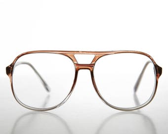 Diopter 2.75 90s Aviator Classic Vintage Reading Glasses Clear and Brown- Irwin
