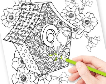 Anti-stress grown up coloring page, digital color pdf for stress, printable colouring pages