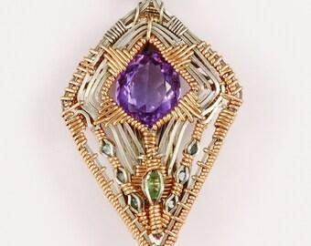 Amethyst Sapphire Sunray Pendant