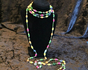 "88"" Long Bright Multi-Color Wrap Necklace with Feather Charms"