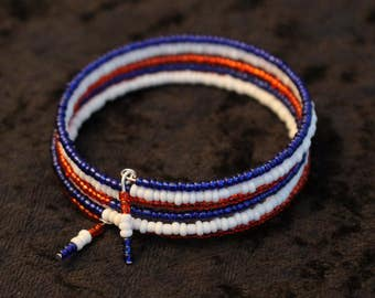 A Patriotic Red, White and Blue Memory Wire Bracelet