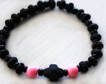 Mens Breast Cancer Awareness Stretch Bracelet with Lava Rock and Pink Glass Beads