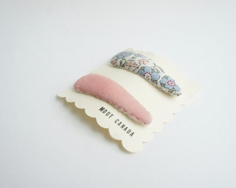 Set of 2 hair snap clips, baby, kids, toddler girls, liberty, french cotton
