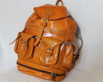 Handmade Bespoke Leather Backpack, Leather Bag Amber