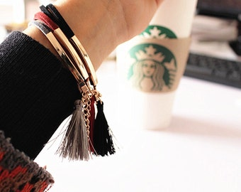 Jewelry Korean Fashion Simple Black Grey Wine Leather Suede Gold Plated Detail With Tassels Bracelet Gift For Women