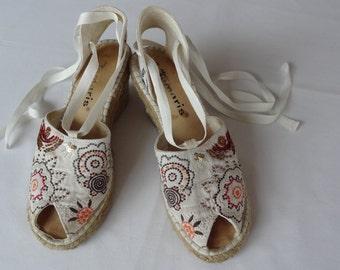 Vintage shoes,Beads shoes, Light canvas shoes,White shoes, Plaited fiber sole,Espadrilles,Summer shoes,Cotton shoes,Size 25/39,Heel 8cm