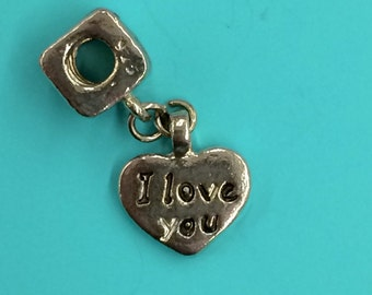 "925 ""I Love You"" charm/bead Sterling 925"