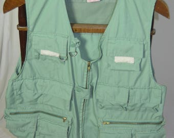 Vintage Mens World Famous Fly  Fishing Vest Sanforized Green - Size Large