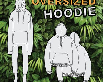 Oversized Hoodie PDF Sewing Pattern S M L XL