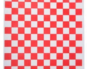 "Red Checkered Wax Liner 12""x 12"" Sheets (100 Sheets)"