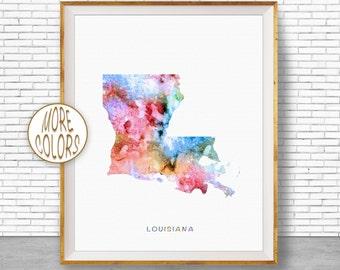 Louisiana Print Louisiana Art Print Louisiana Decor Louisiana Map Art Print Map Artwork Map Print Map Poster Watercolor Map ArtPrintZone