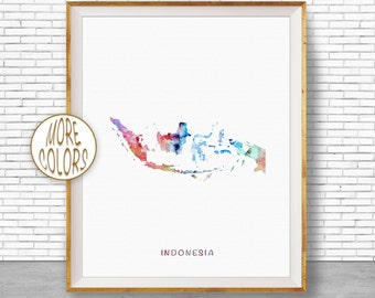 Indonesia Art Print, Indonesia Print, Watercolor Print, Indonesia Map Decor, Wall Art Prints, Moving Away Gift, Moving Gift, ArtPrintZone