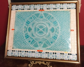 """Unique Shabby Chic tile & beaded handmade wall art hanging 16""""inches by 20"""" inches"""