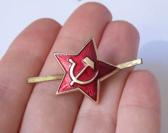 Red star collection Gold pin Army decor Hammer and sickle pin Small badge Revolution hat pin Military gift Soviet propaganda pin Old cockade