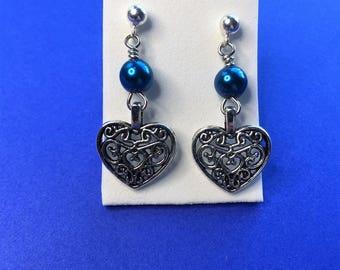 Heart dangle earrings-silver blue dangle earrings-girls  stainless steel post earrings
