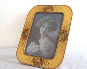 Large Vintage Bucklers Frame, Yellow Enamel Frame with Floral Details, Gold Outline, Antique Enamel Frame with Rounded Edges
