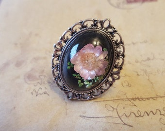 Ring with real flowers ~ silver ~