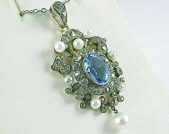 Edwardian Cultured Pearl Paste Strass Pendant