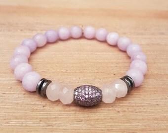 Unisex bracelet, Elegant-03, rose quartz and Agates.